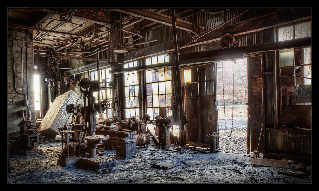 View Through Side Door Of Machine Shop At Abandoned Coal S