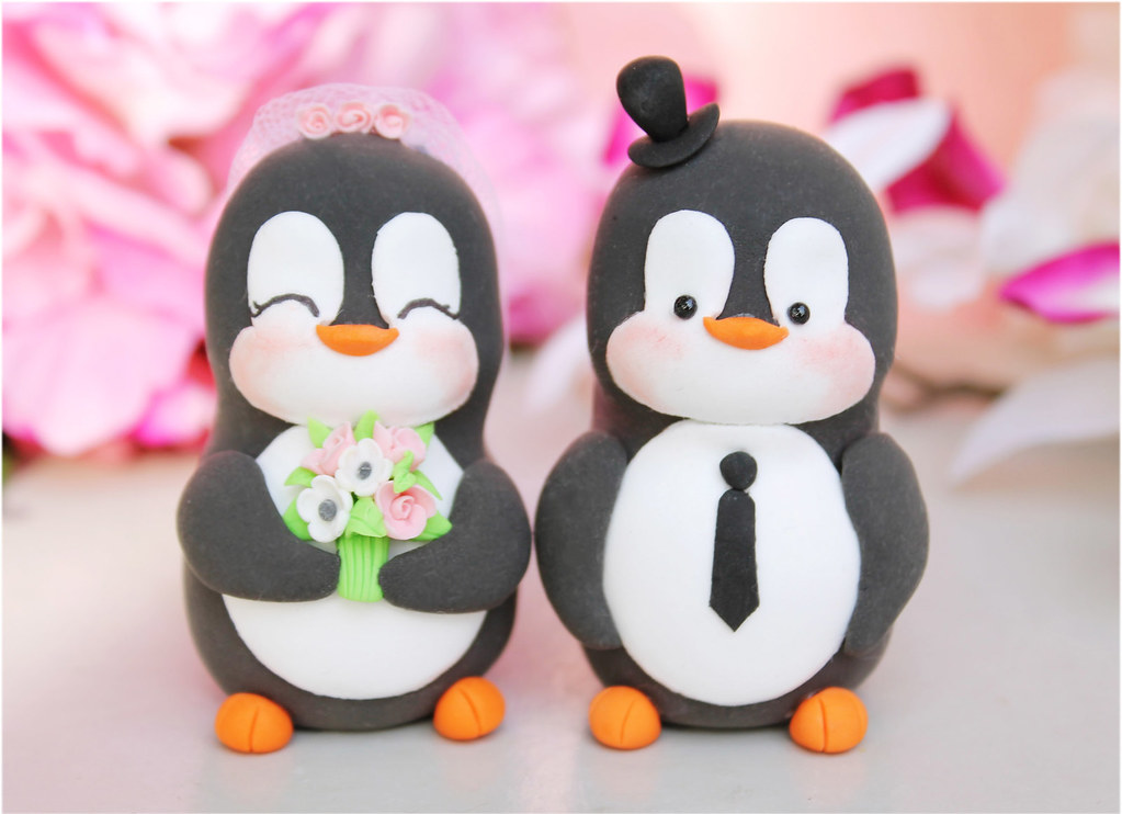 penguin wedding cake topper penguin wedding cake toppers white pink custom 18187