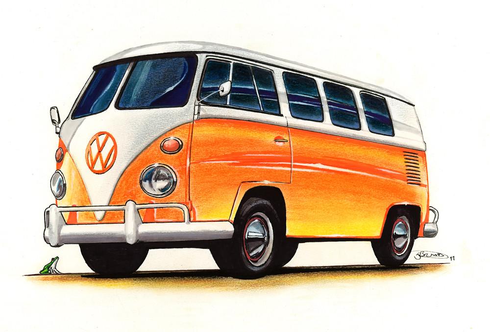 Vw Campervan Drawing 2011 Pastel Marker Fineliner And
