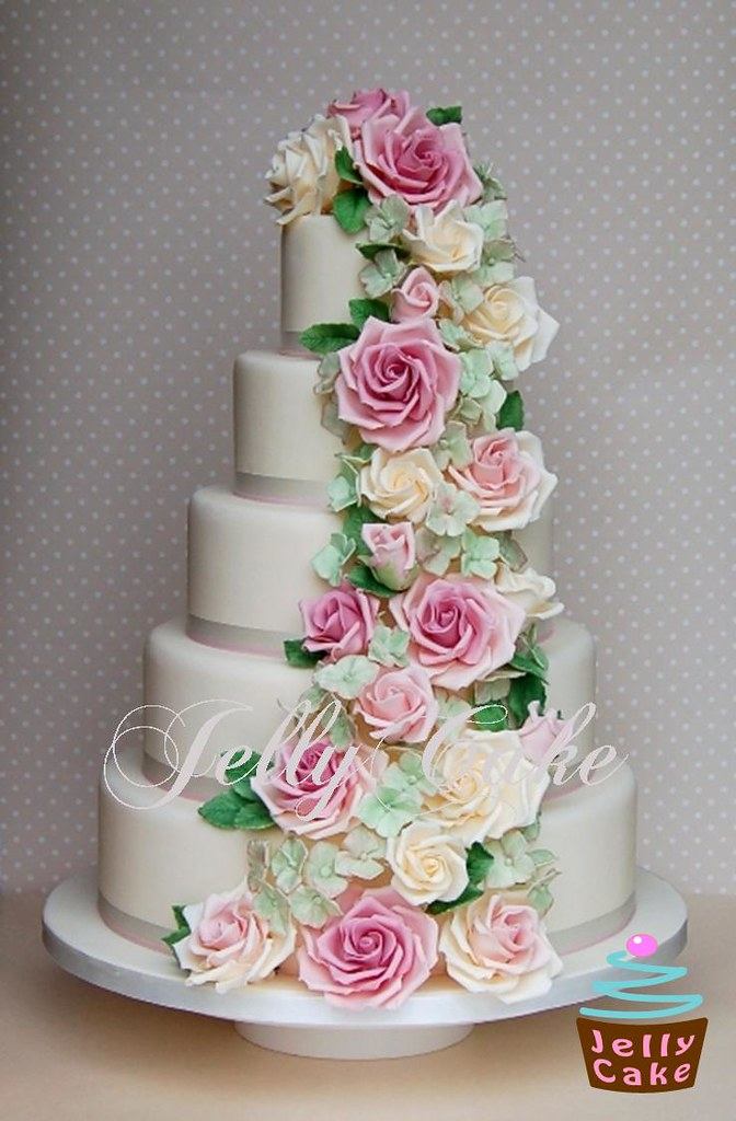 5 tier wedding cake with cascading flowers and hydrangea cascade wedding cake a new dummy cake 10476