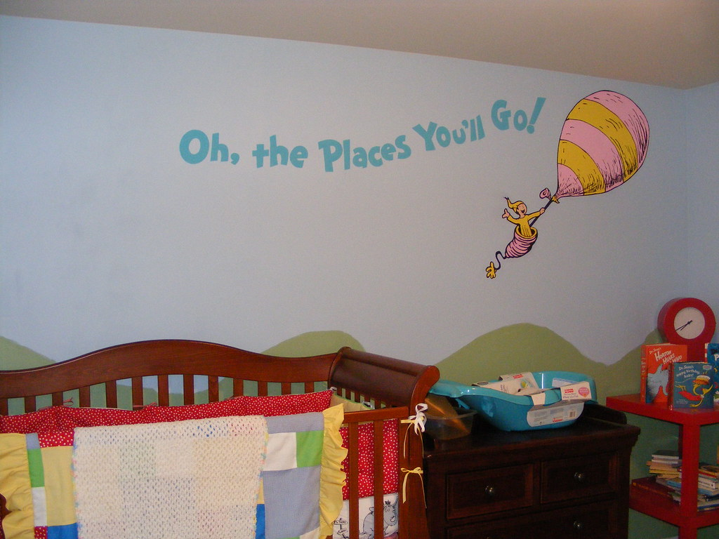 Dr seuss dr suess theme wallpaper wall paper art sticker for Baby mural wallpaper