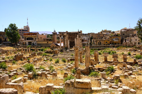 Venus Temple and Modern town of Baalbeck in background | by migaticadesign