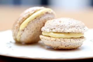 Hazelnut Macaron with Popcorn Cream filling | by Fiona Beckman