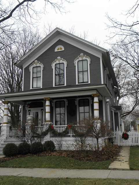 Dark gray victorian house flickr photo sharing for Victorian house trim