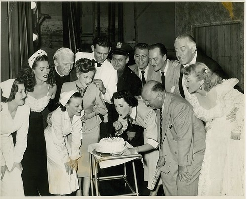 "Maree Austin, US star John Hubbard and cast of ""Mary had a little"" celebrate a birthday, Tivoli Theatre, Melbourne, 1951 / Harry Jay 
