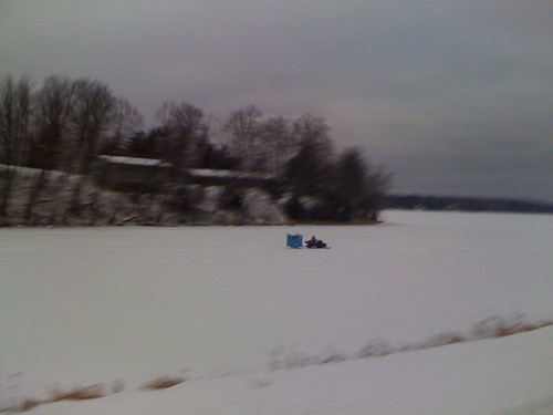 Snowmobile pulling an ice fishing hut | by kartoone76