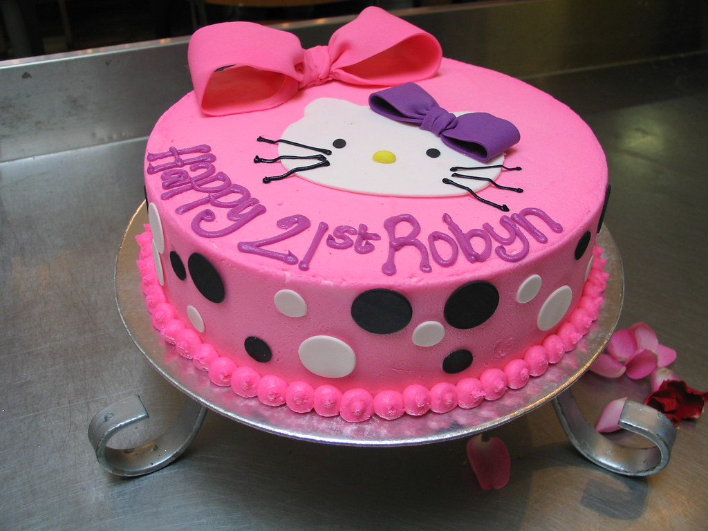 Hello Kitty Icing Cake Design : Wicked Chocolate cake iced in pink butter icing with fonda ...