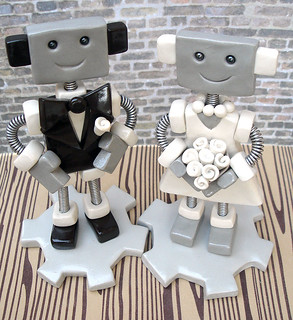 Robot Wedding Cake Topper | Brown Suit White Dress | by HerArtSheLoves