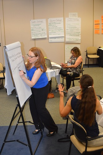 APHIS' Marlene Cole recording a group's brainstorming efforts