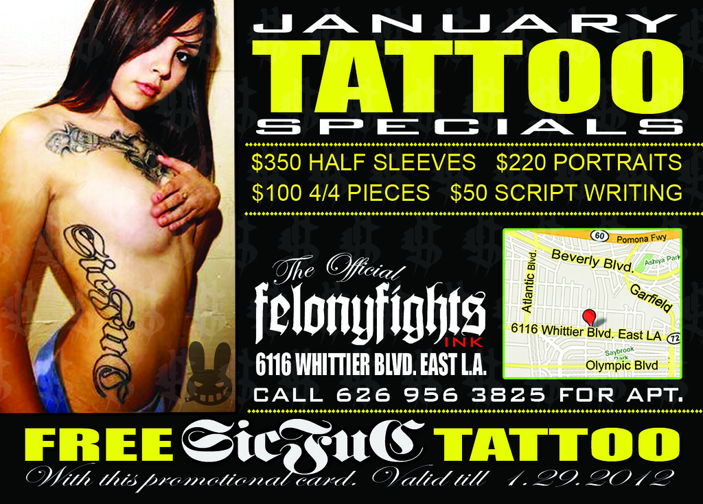 Come get tatted at felony fights ink 6116 whittier blvd e for Ink fiends tattoo whittier
