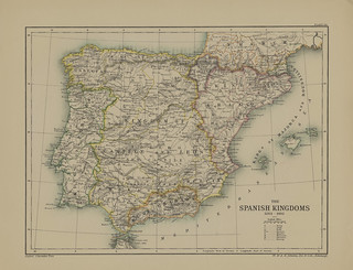 Map page of Section LX The Spanish Peninsula 1263-1493 from Part VI of Historical atlas of modern Europe from the decline of the Roman empire : comprising also maps of parts of Asia and of the New world connected with European history | by uconnlibrariesmagic