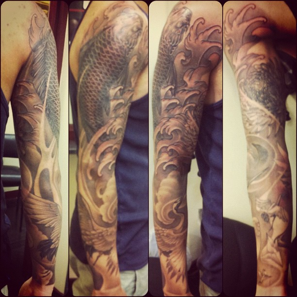 Kevins Sleeve Greywash Tattoo Finished Inkstagram Or