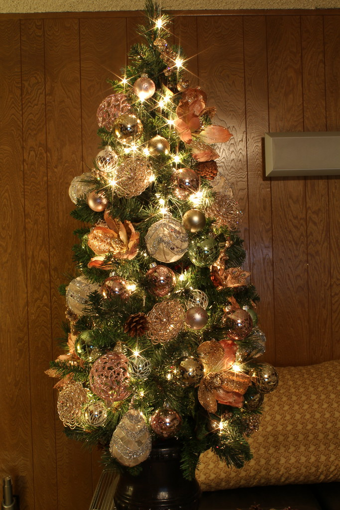 4 Foot Victorian Themed Christmas Tree Using Gold
