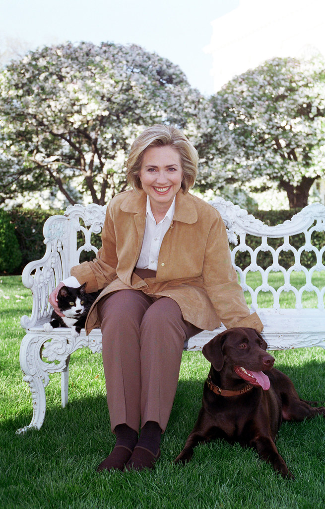 Photograph of First Lady Hillary Rodham Clinton with Socks the Cat and Buddy the Dog: 04/07/1999