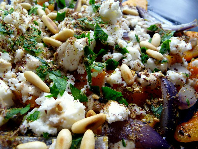 Roast butternut squash and red onions with feta, tahini sauce and ...