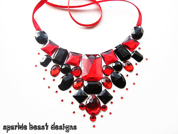 Red and black rhinestone floating bib necklace another for Red black and green jewelry