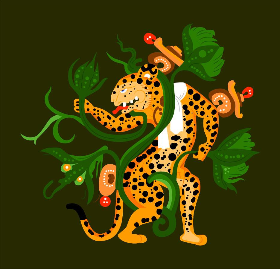 Maya Jaguar: Mayan Jaguar Playing With A Waterlily