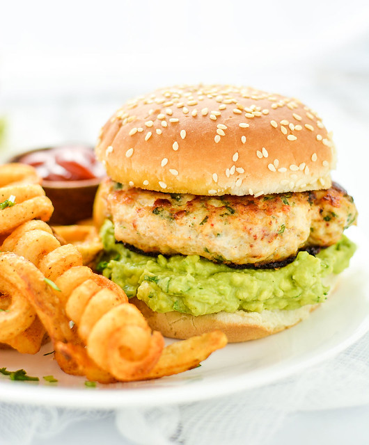 Grilled Chicken Burgers with Guacamole