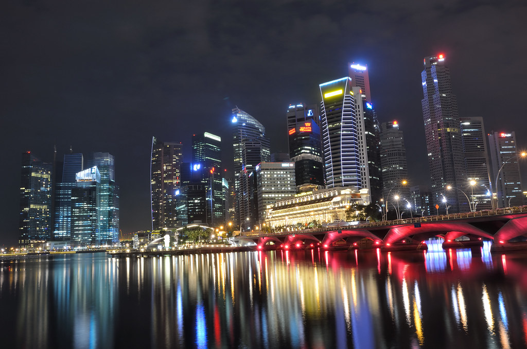 Singapore Skyline And Bridge At Night Tristan Schmurr
