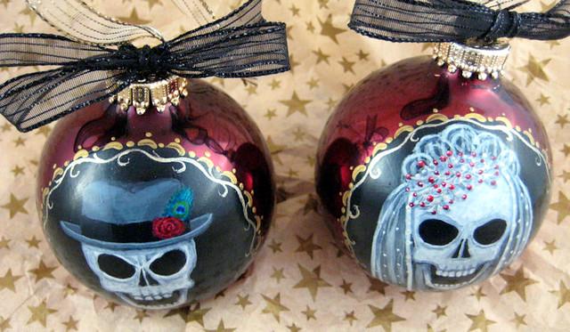Retro Skull Bride & Groom Wedding Ornament Set - top