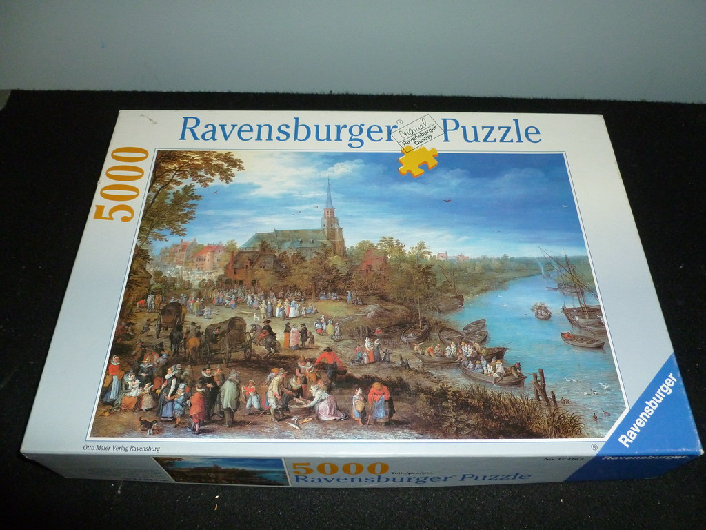 "5000 piece puzzle, ""Village on the River,"" by Jan Brueghel ..."