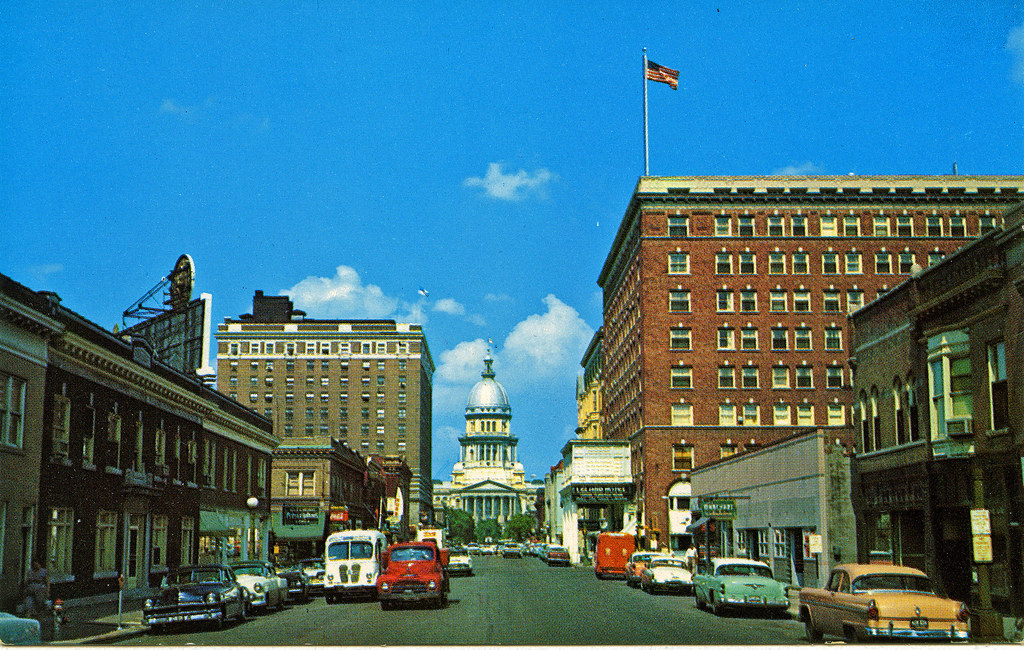 Springfield Illinois Late 1950 S Old Post Card