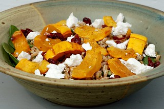 Farro and roasted delicata squash with chevre and spinach by Eve Fox, Garden of Eating blog, copyright 2012 | by Eve Fox
