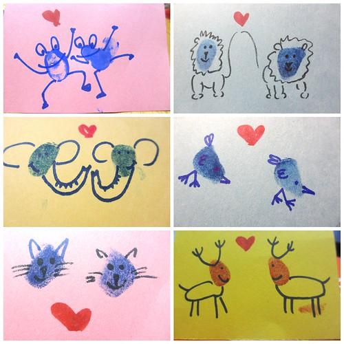 Homemade Valentine S Day Card Thumb Print Animals