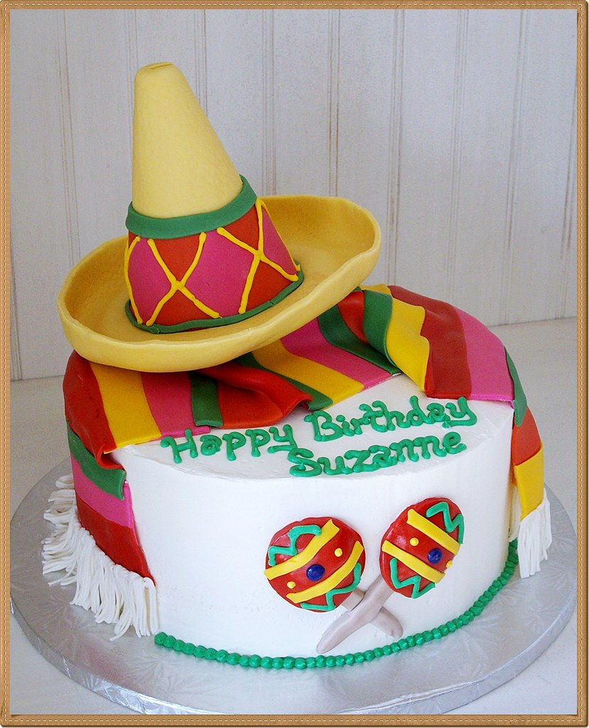 Mexican Sombrero Themed Fondant Decor Birthday Cake   Flickr