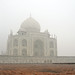 Taj Mahal on a foggy day