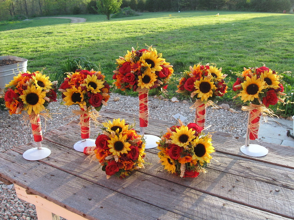 Silk Fall Sunflower Bridal Bouquet Package