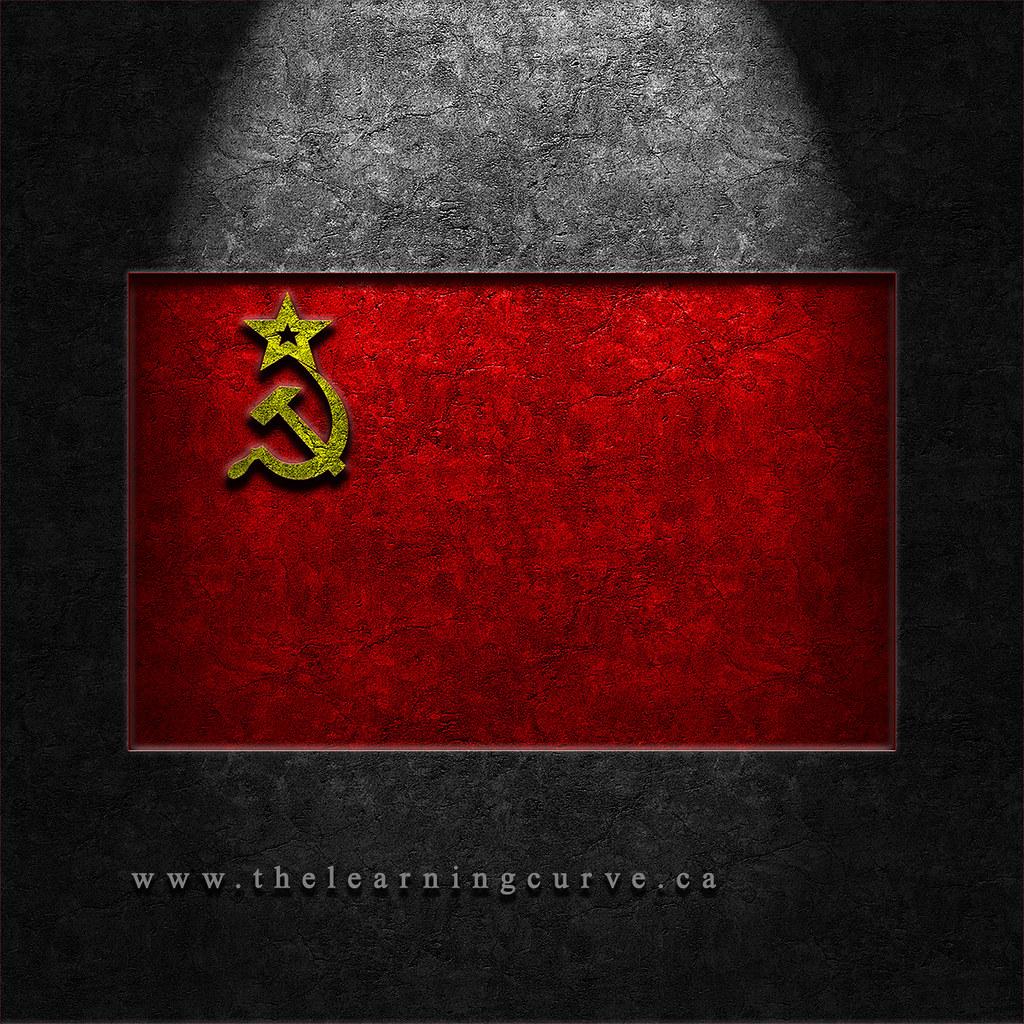 Ussr Flag Black And White USSR Flag Stone Textur...