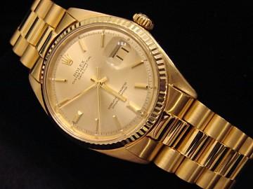 Mens Rolex 18k Gold Datejust W President Style Bracelet