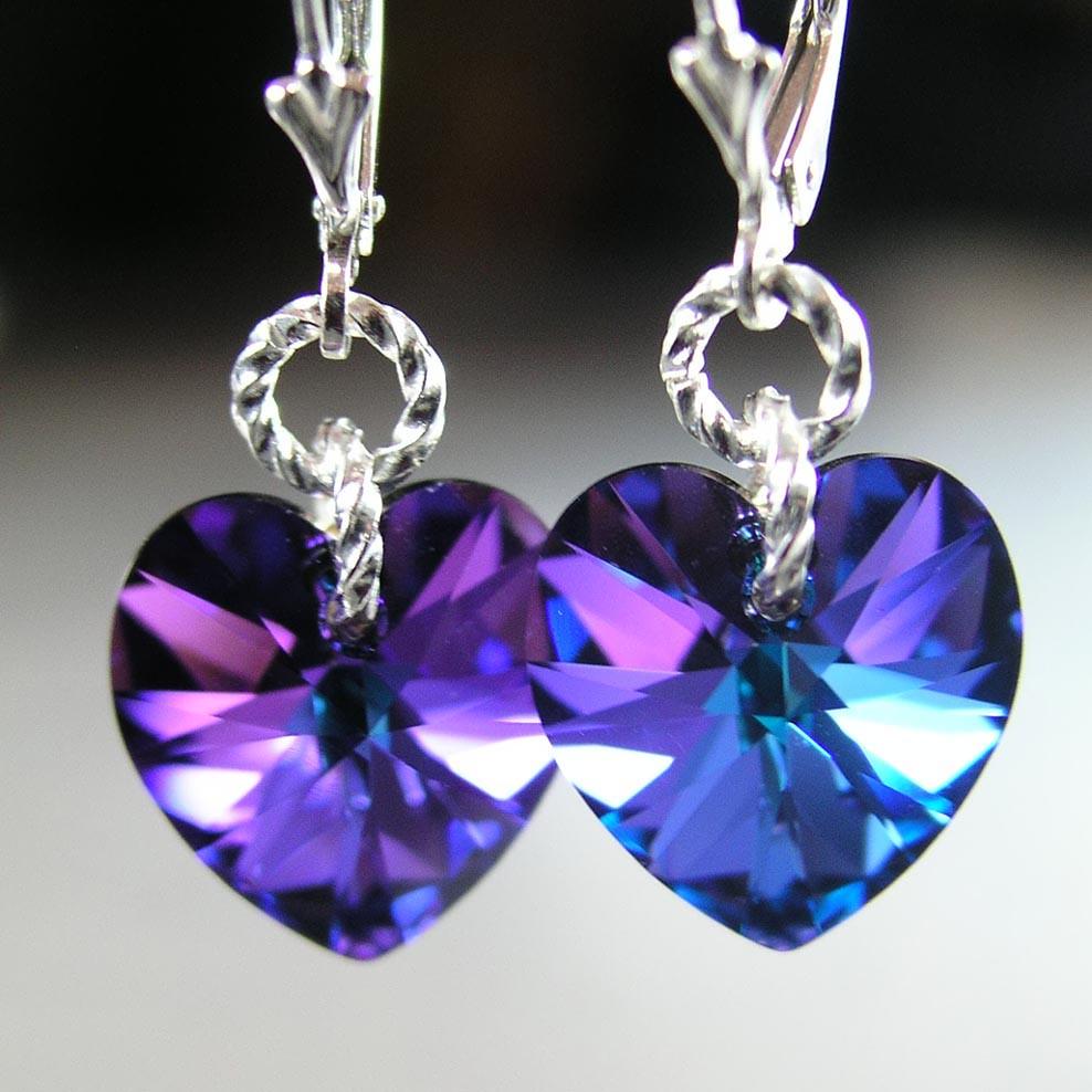 Purple Heart Earrings Sterling Silver Swarovski Cobalt Iri