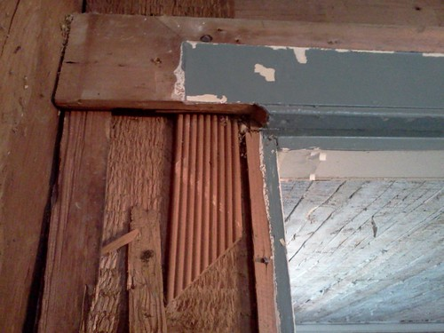 Reeded pieces as shims | by Preservation Timberframing