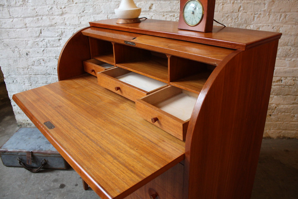 Delightful Danish Modern Teak Secretary Rolltop Desk Swed