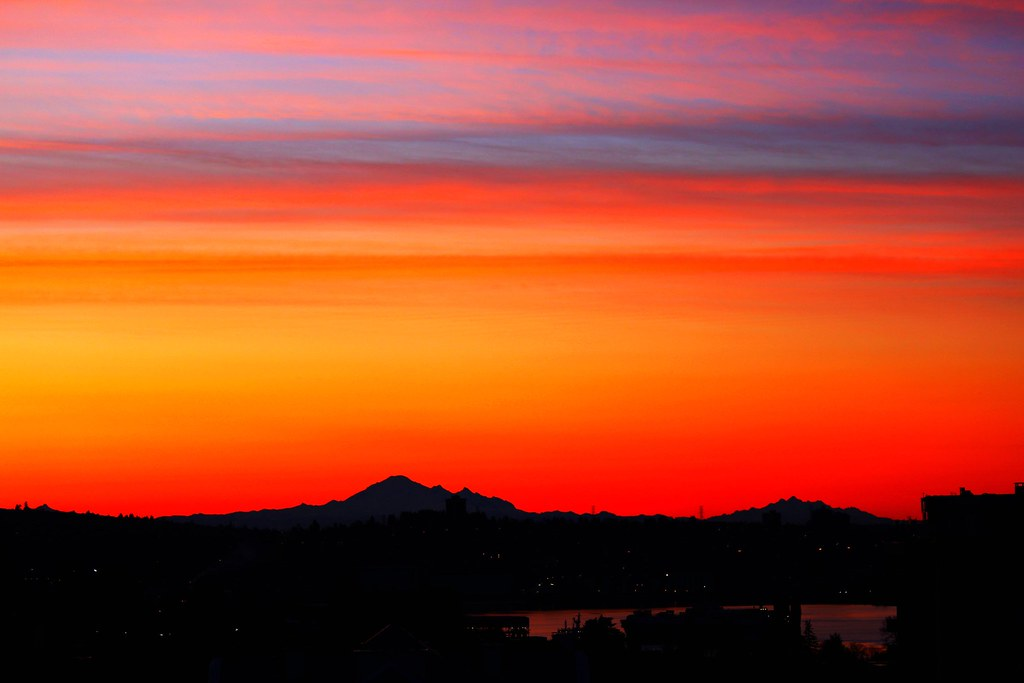 Breathtaking Sunrise Colours Over Mt Baker Click To View