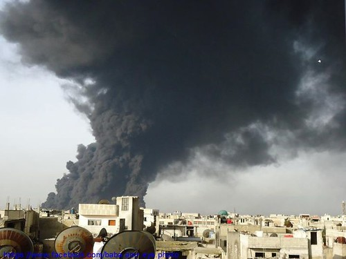 Black smoke over Baba Amr, Homs after jet-fighters bombed oil pipes | by FreedomHouse