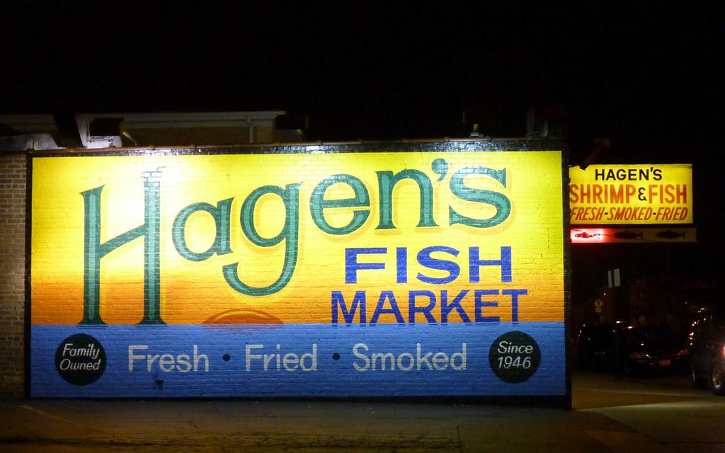 Hagen 39 s fish market a beautiful sign on west montrose for Hagen s fish market