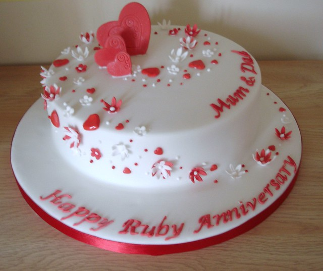 Ruby Wedding Anniversary cake. Flickr - Photo Sharing!
