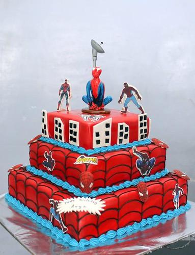 Spiderman Cartoon 3 Tier Birthday Cake Order Cakes At