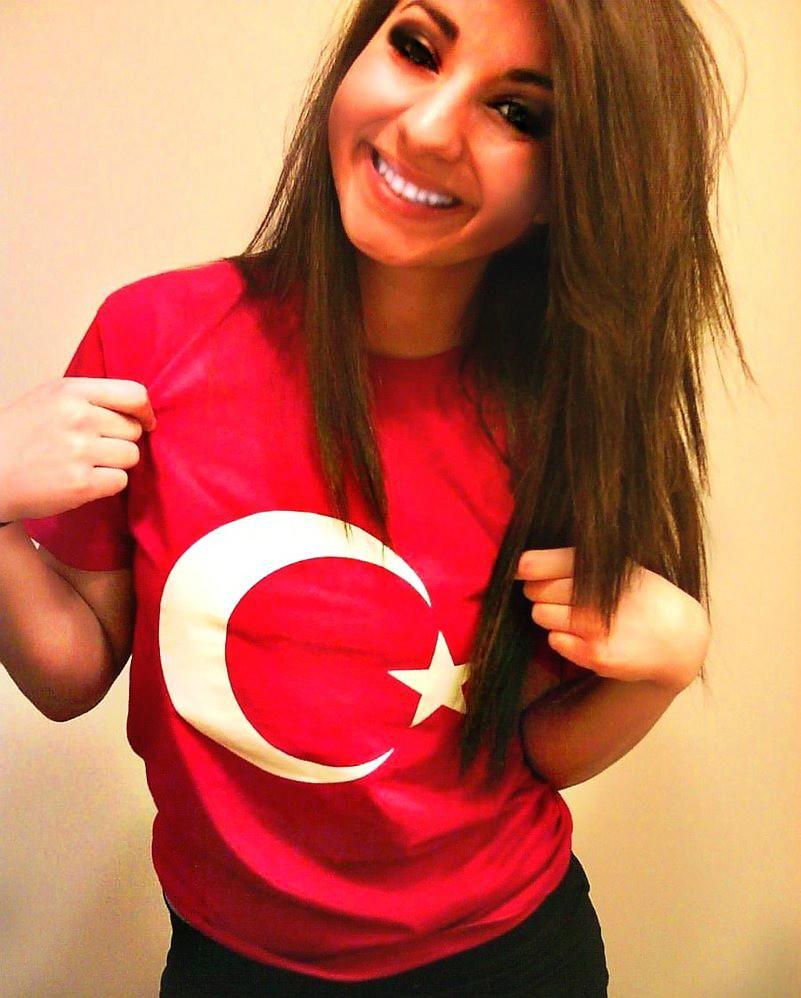 Beautiful Turkish Girl With Turkish Flag  Turkish Flag -2407