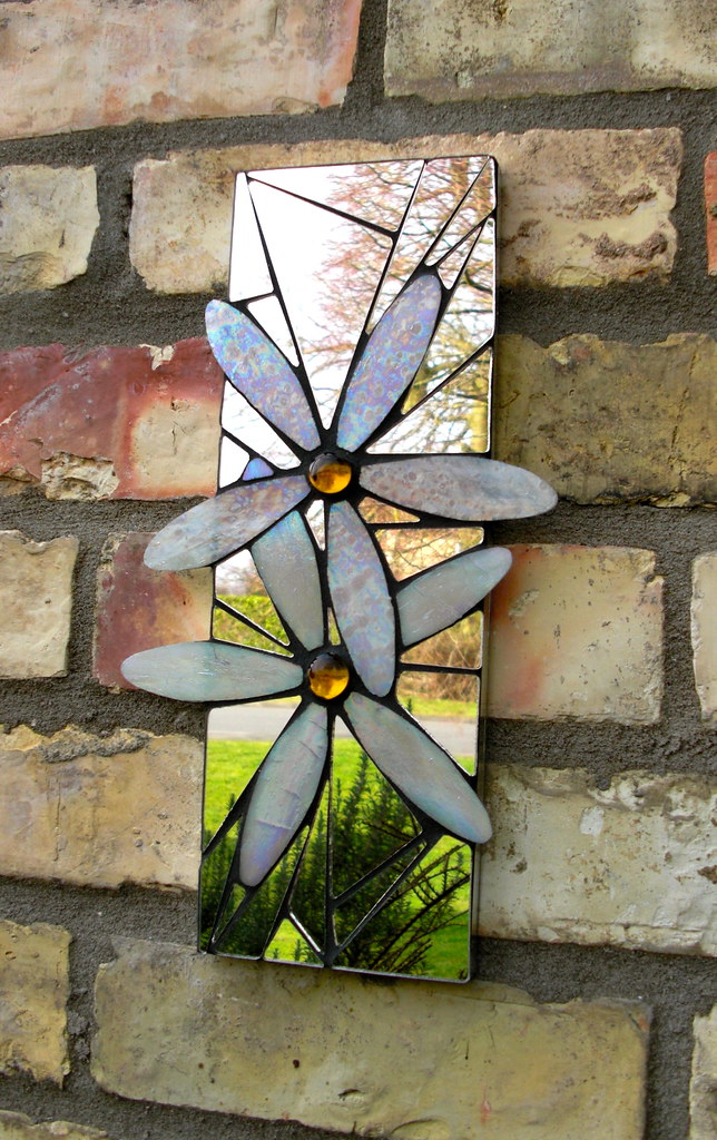 Daisies Mosaic Garden Mirror 4x12 Quot Handmade With