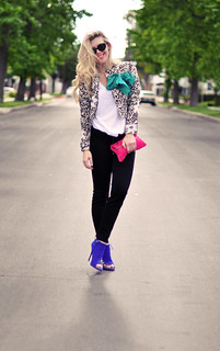 printed floral jacket - jeans and tee-bright accessories | by ...love Maegan