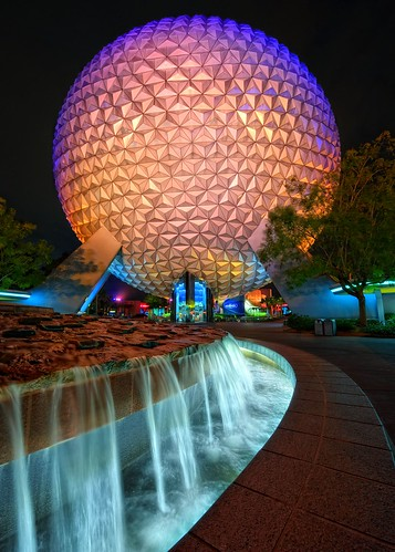 Spaceship Earth Fountain at Night | by Express Monorail