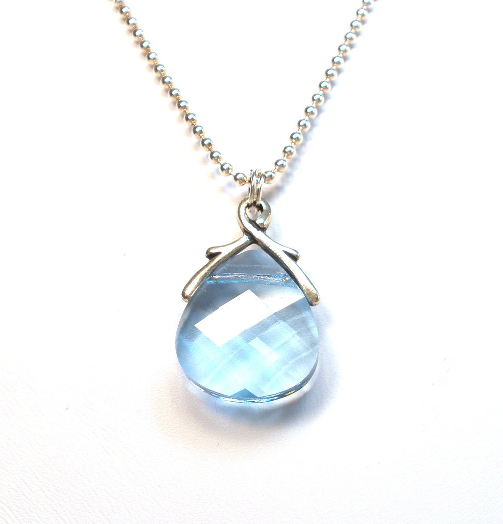 March Birthstone Necklace Aquamarine Necklace Bridesmaid