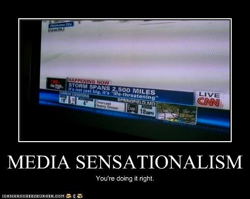 indian media sensationalize the news Sensationalism is a type of editorial bias in mass media in which events and topics in news stories and pieces are overhyped to present biased impressions on events.