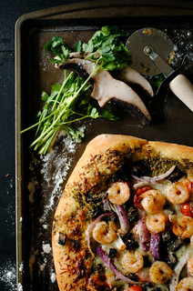 Shrimp, Pesto, and Mushroom Pizza | by How To: Simplify