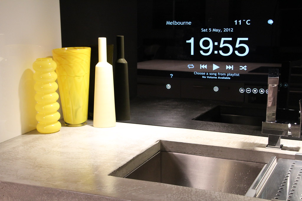 Made to order bathroom cabinets - Kitchen Integrated Ipod In Glass Splashback Www