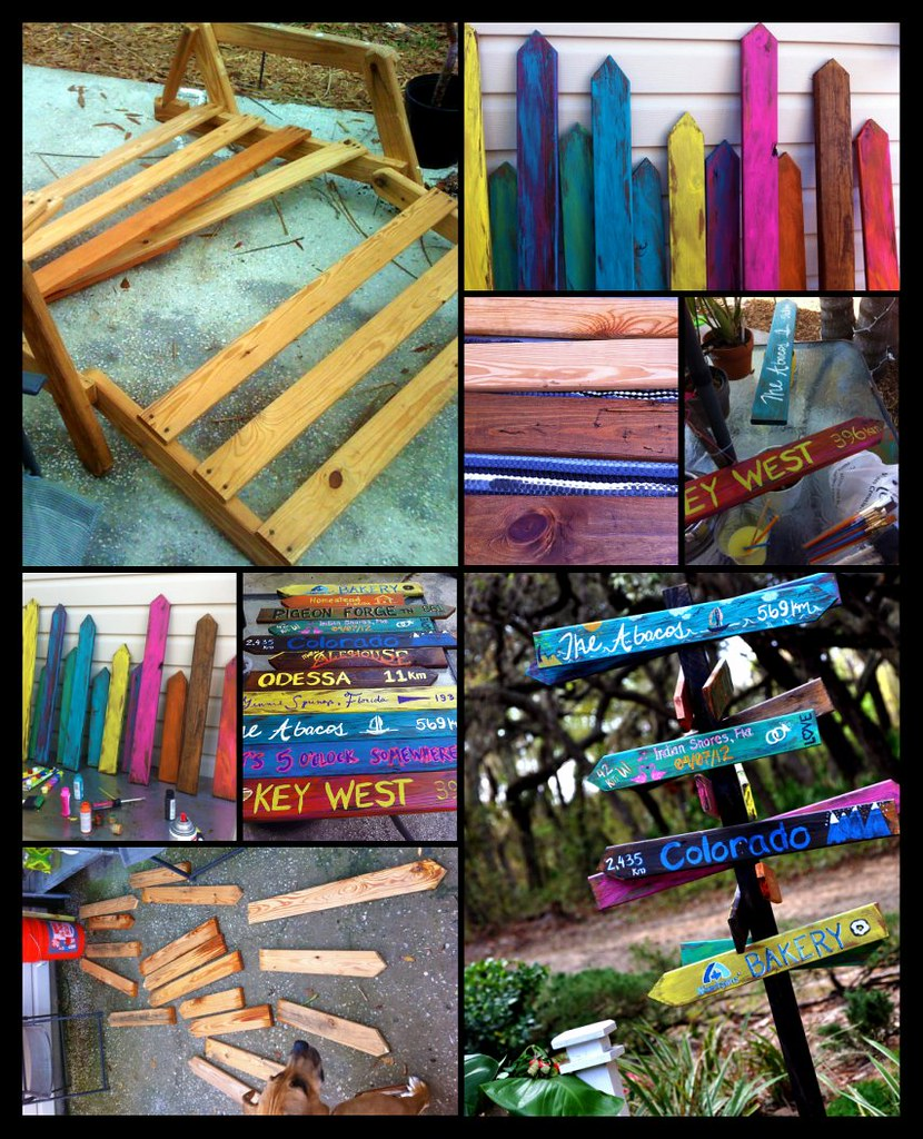 Tropical directional sign project from trash to treasure for Mel s fish shack